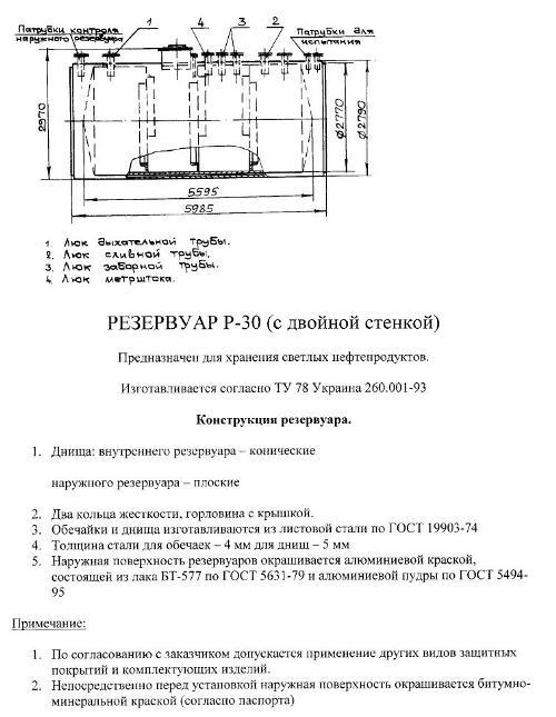 двухстенный резервуар Р-30