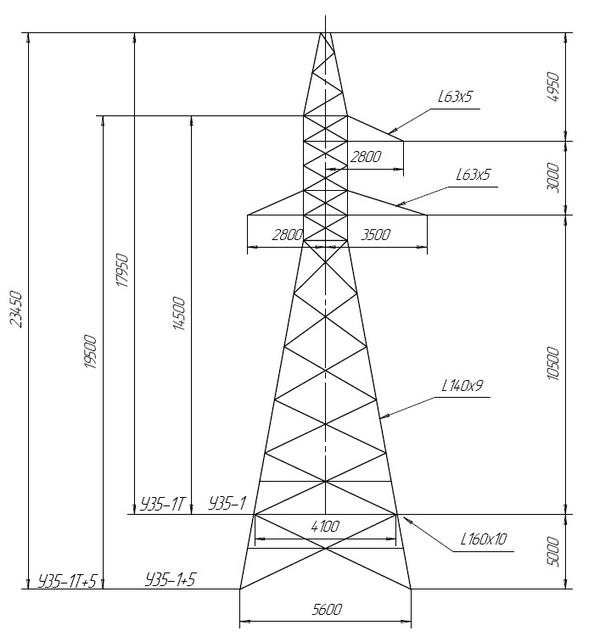 Монтажная схема опоры ЛЭП ВЛ